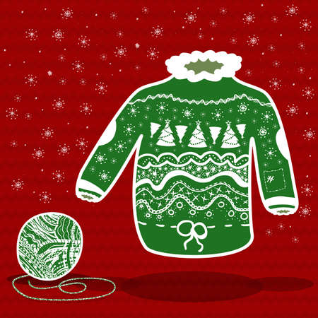 Groene gebreide kerst trui en een bal van garen op rood