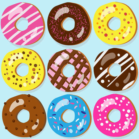 Set of 9 assorted doughnut icons with different toppings Vector
