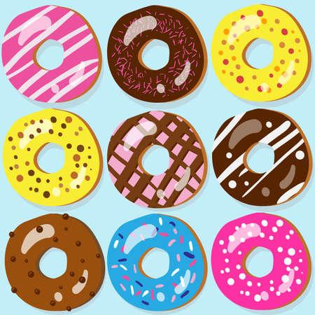 Set van 9 geassorteerde donut pictogrammen met verschillende toppings