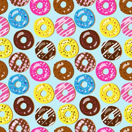 異なるトッピング盛り合わせドーナツのシームレスなパターン