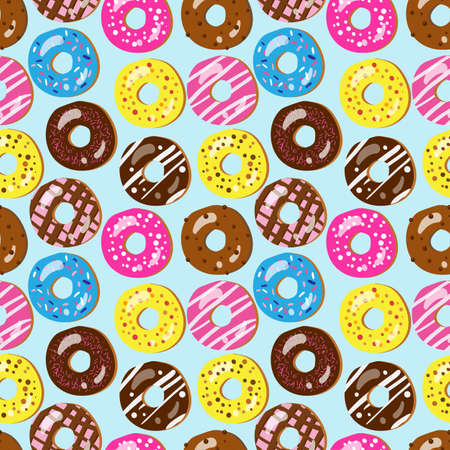 Seamless pattern of assorted doughnuts with different toppings Vector