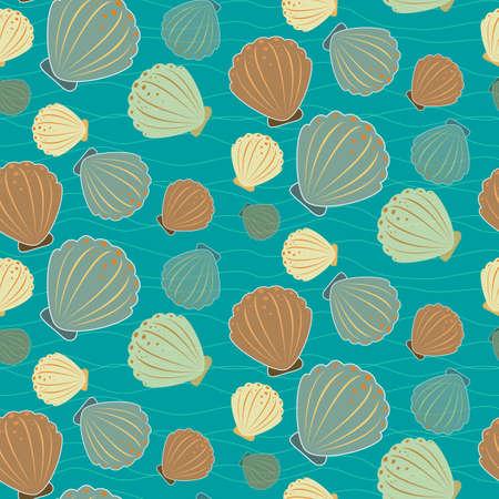 sealife: Nahtlose Sealife Muster mit Muscheln