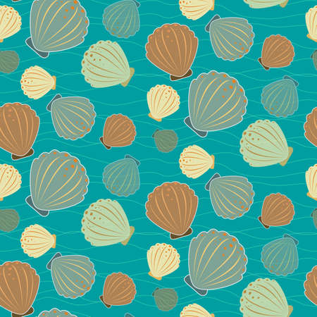 Seamless sealife pattern with shells