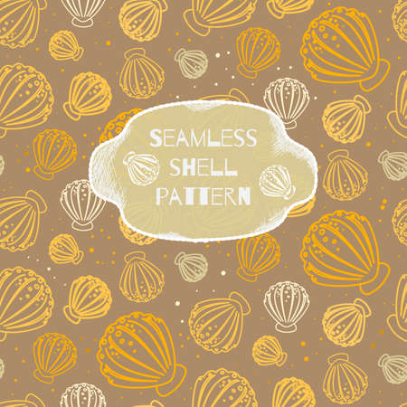 Seamless beach pattern with shells Vector