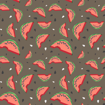 Seamless vector watermelon pattern with seeds Vector