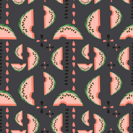 Geometric seamless vector pattern with watermelons and its seeds Vector