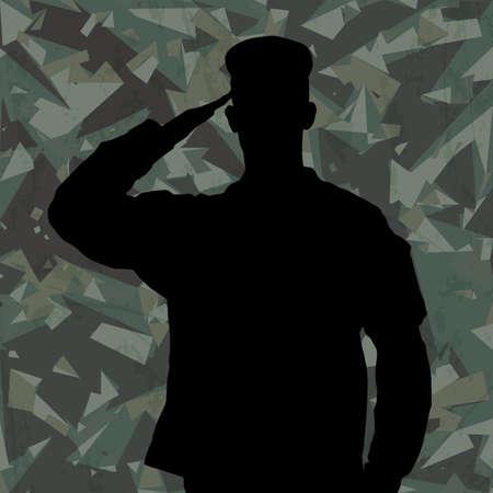 Het groeten van soldaat silhouet op een groene camouflage achtergrond vector
