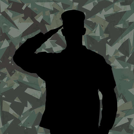 Saluting soldiers silhouette on a green army camouflage background vector Vector