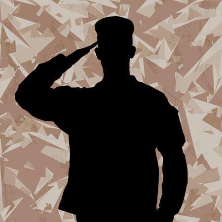 salut: Salutera soldat siluett på en öde armékamouflagebakgrund vektor Illustration