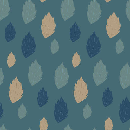fallen: Seamless autumn vector pattern with fallen leaves on cyan background