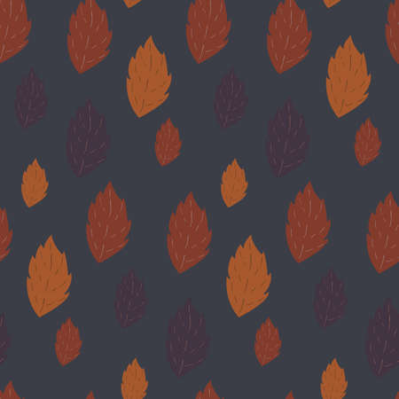 fallen: Seamless autumn vector pattern with fallen leaves on dark purple background