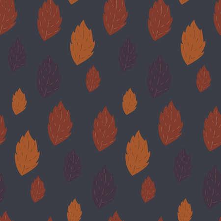 Seamless autumn vector pattern with fallen leaves on dark purple background