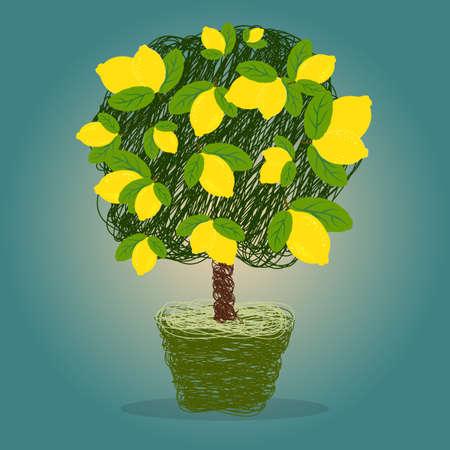 limon caricatura: Árbol de limón en una olla dibujado en vector del estilo del garabato