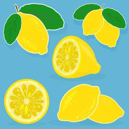 Set of lemon vector illustrations on blue background Vettoriali