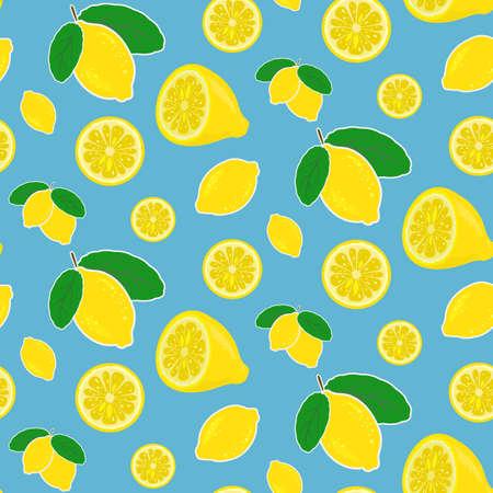 Seamless vector lemon pattern in bright happy colors Иллюстрация