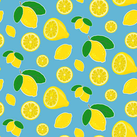 Seamless vector lemon pattern in bright happy colors Vettoriali