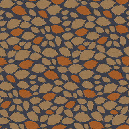 Seamless autumn vector pattern with fallen leaves on dark blue background Vectores