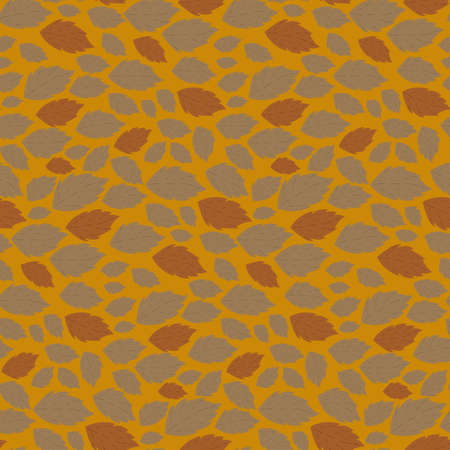 Seamless autumn vector pattern with fallen leaves on orange background Stock Vector - 24867445