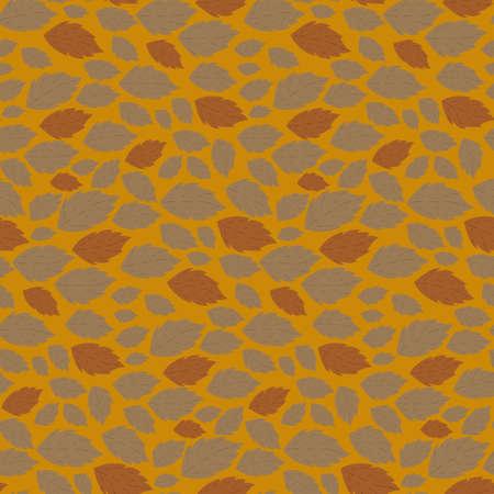 fallen: Seamless autumn vector pattern with fallen leaves on orange background Illustration