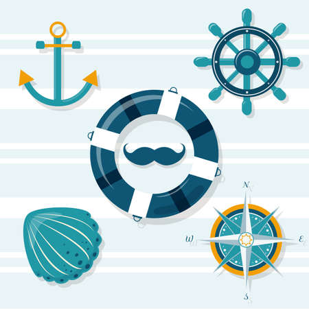Set of 9 nautical illustrations: anchor, helm, lifebuoy,shell,wind rose Stock Illustratie