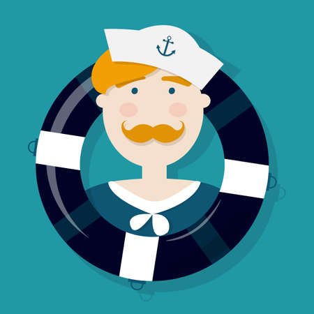 sailors: Cute ginger sailor cartoon character in a lifebuoy Illustration