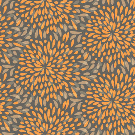 Seamless splattered fireworks vector pattern in orange and grey Illusztráció