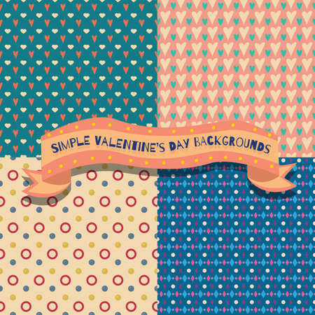 Set of four cute and simple valentines day backgrounds Vector