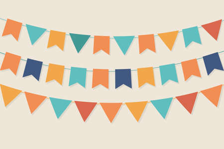 party flags in pastel palette