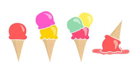 helados en cono: Conjunto de cuatro helados tamaño vectoriales diferentes aislados en blanco