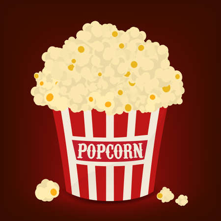 pop corn: Red and white striped vector bag of popcorn on red