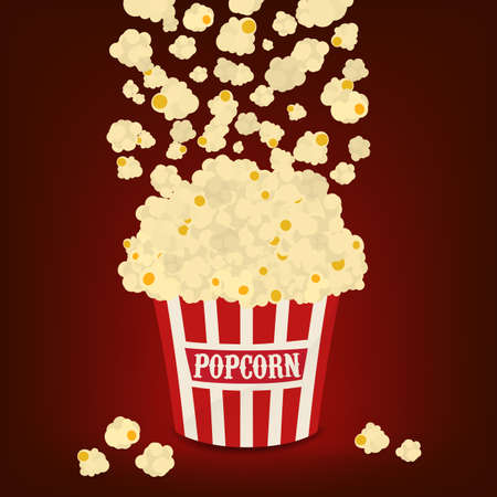 Popcorn falling in the striped popcorn bag Illustration