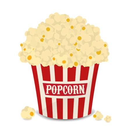 Gestreept rood en wit vector zak popcorn geïsoleerd op wit