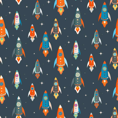 Seamless vector pattern of colorful rockets in outer space among the stars Vector
