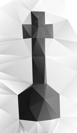 Cross tombstone made of vector geometric shapes (crumpled paper)
