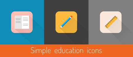 Set of three vector education themed icons (notebook,pencil,ruler) Stock Vector - 25462341