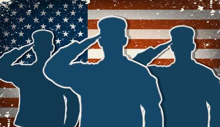 silhouette soldat: Trois soldats de l'armée américaine en saluant le vecteur grunge de drapeau américain
