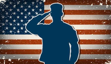 silhouette soldat: Soldat de l'arm�e des �tats-Unis saluant le vecteur grunge de drapeau am�ricain