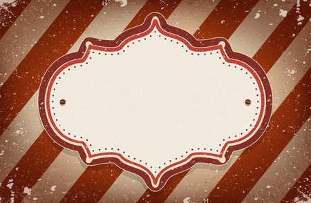 fondo de circo: Vector marco de la vendimia del circo inspirado en el fondo de rayas con un espacio para el texto