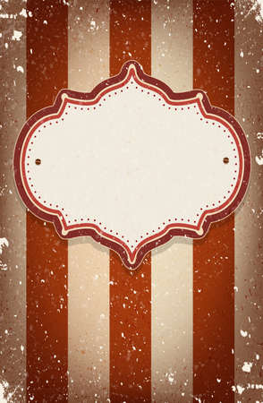 Vintage vector circus inspired frame on striped background with a space for your text