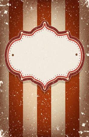 Vintage vector circus geïnspireerde frame op gestreepte achtergrond met een ruimte voor uw tekst Stock Illustratie