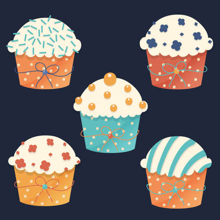 cup cake: Five vector cupcakes with fun sprinkles for the party Illustration