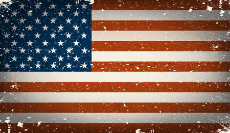 american history: Grunge worn out vector american flag Illustration