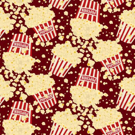 Naadloze vector dalende popcorn achtergrond op rood