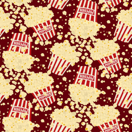 Seamless vector falling popcorn background on red Çizim