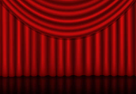 Red curtains background with a reflection