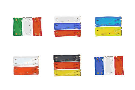 European countries flags made of  wooden planks isolated on white illustration  Italy,Russia,Ukraine,Poland,Germany,France  illustration