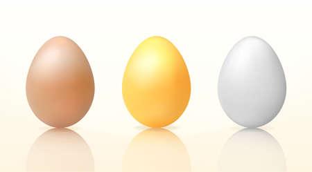 Three vector eggs for easter  brown, golden, white