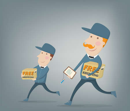 Free shipping  Two couriers delivering  packages shipped for free Vector