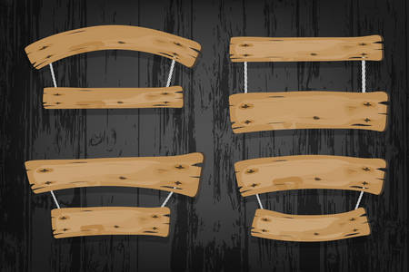 wood panel: Brown wooden vector banners and ribbons hanging on ropes on wooden background