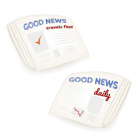 news current events: Two vector Good news daily newspaper illustrations